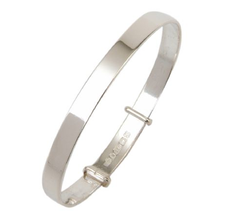Hallmarked Sterling Silver Bangle with Plain Polished Finish